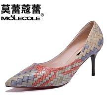 莫蕾蔻蕾2018新款百搭时尚高跟鞋镂空拼色性感女鞋  70093