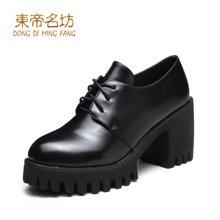 东帝名坊2018新款单鞋 粗跟时尚圆头韩版高跟鞋防水台系带女鞋 D670TH10