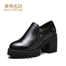 东帝名坊2018新款单鞋 时尚圆头防水台高跟鞋韩版粗跟舒适女鞋 D670TH09