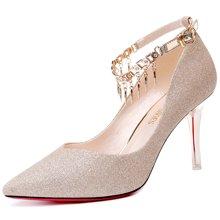 莫蕾蔻蕾2018新款一字扣带高跟水钻单鞋尖头女鞋细跟浅口正装鞋 72260