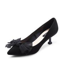 honeyGIRL新款女鞋尖头猫跟鞋蝴蝶结高跟鞋细跟浅口单鞋TMHG17FA034XT182