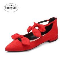 honeyGIRL2018春季新款女鞋蝴蝶结玛丽珍鞋低跟鞋子平跟单鞋尖头HG18FA31-XT465