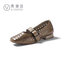 镂空单鞋女春季新款玛丽珍鞋女粗跟复古真皮方头奶奶鞋女浅口Y18CD0757