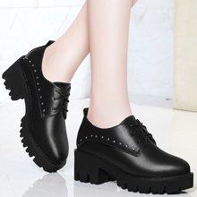 金丝兔秋鞋新款英伦风女鞋高跟百搭韩版粗跟单鞋女系带学院气质圆头