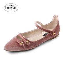 honeyGIRL春季新款女鞋尖头平底鞋百搭平跟鞋子绒面浅口单鞋TMHG17S1P10-XT033