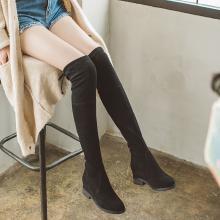 如熙秋冬新款长靴粗跟低跟靴过膝长靴粗跟韩版女鞋平底靴183DXJK3219