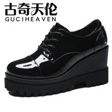 古奇天伦厚底防水台女鞋欧美亮面坡跟时尚休闲鞋潮鞋 TL/8331