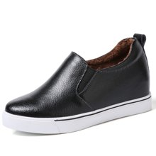OKKO冬季加绒女鞋爆款真皮内增高休闲韩版一脚蹬低帮鞋乐福鞋MJL1709