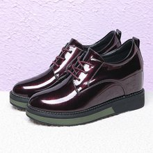 古奇天伦 运动休闲女鞋镜面圆头女鞋系带内增高系带女单鞋 TL/8807