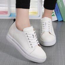 OKKO内增高小白鞋牛皮平底休闲坡跟乐福鞋厚底单鞋女x2383