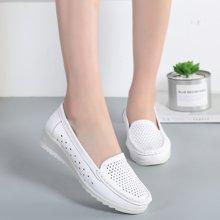 米基护士鞋夏季小白鞋女软底坡跟白色透气镂空夏天真皮防滑防臭工作鞋AL6616