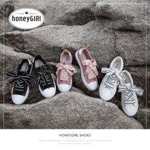 honeyGIRL2018秋季新款ins帆布鞋街拍休闲板鞋百搭小白鞋平底女鞋HG18SP351XT811