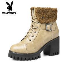花花公子女鞋马丁靴女英伦风短靴加绒粗跟系带圆头翻毛边冬季靴子G151750583