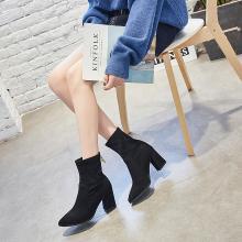 搭歌 2018秋季新款尖头高跟袜靴女粗跟黑色弹力中筒袜子靴 809-5