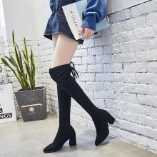 搭歌 2018秋季新款过膝高跟鞋粗跟长筒靴高筒靴子冬弹力靴女 809-1