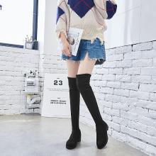 搭歌 2018秋冬新款羊猄绒长筒靴高筒弹力靴子平跟过膝靴女 809-2