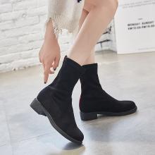 搭歌 2018秋季新款休闲时尚弹力靴子黑色百搭圆头女鞋 809-8