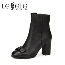 LESELE/莱思丽新款冬季牛皮女靴时尚女鞋 圆头拉链防水台中筒靴VSH61-LD8204
