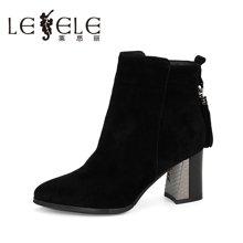 LESELE/莱思丽新款秋季羊猄皮高跟女鞋 流苏靴拉链粗跟短靴VSA61-LD8706