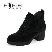 LESELE/莱思丽新款冬季拉链牛京女鞋 粗高跟职业靴加绒女短靴KE61-LD0190