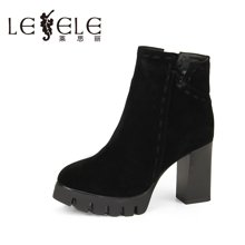 LESELE/莱思丽冬季新款牛猄粗跟女靴 防水台拉链潮流时尚短靴QEH61-LD9122