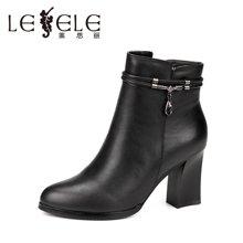 LESELE/莱思丽新款冬季牛皮女鞋 圆头粗跟时尚靴高跟拉链短靴VSH61-LD8340