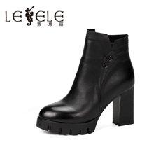 LESELE/莱思丽新款冬季牛皮女鞋 圆头粗跟防水台高跟女短靴QEH61-LD8056