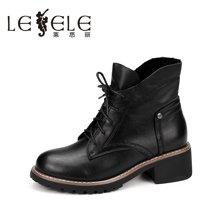 LESELE/莱思丽新款冬季牛皮女鞋子 圆头粗跟靴绑带拉链短靴HAE61-LD0212