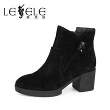 LESELE/莱思丽新款冬季牛京高跟女靴 拉链粗跟防水台及踝短靴KE61-LD0146