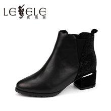 LESELE/莱思丽秋冬新款女靴潮流舒适女鞋 圆头套筒中粗跟短靴KE61-LD3138