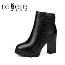 LESELE/莱思丽新款冬季牛皮女鞋子 拉链粗跟防水台高跟中筒靴QEH61-LD9121