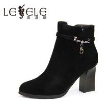 LESELE/莱思丽新款冬季羊猄女靴 圆头高跟短靴拉链粗跟职业靴VSH61-LD8341