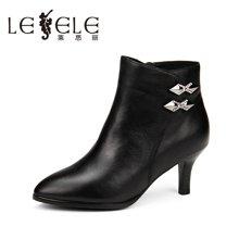LESELE/莱思丽新款牛皮女靴子 尖头拉链细跟短靴高跟时装靴女KE61-LD1079