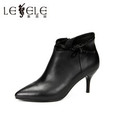 LESELE/莱思丽新款冬季水钻饰牛皮女鞋 尖头细跟靴高跟时装短靴KE61-LD1087