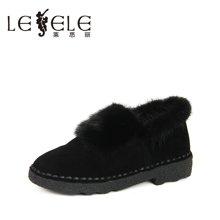 LESELE/莱思丽新款冬季羊猄女鞋子 圆头毛毛鞋平底舒适单鞋女QEH61-LD0740
