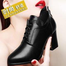 雅诗莱雅 秋季尖头深口拉链粗跟高跟鞋女鞋子防水台短靴韩版时尚小皮鞋 YS/3115