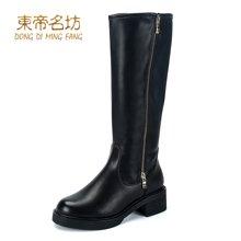 东帝名坊2018新款冬靴长筒靴女高跟粗跟侧拉链过膝靴显瘦简约百搭骑士靴 D321T5-9H