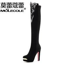 莫蕾蔻蕾/moolecole冬季新款过膝蕾丝粗跟防水台欧美长靴5301-26