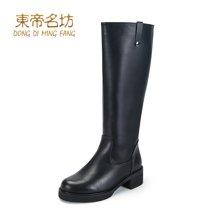 东帝名坊2018冬靴新款简约百搭英伦长靴后拉链粗跟圆头长筒靴女 D321T5-8H