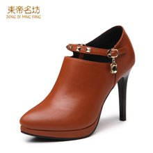 东帝名坊秋冬单鞋时尚通勤OL尖头鞋防水台高跟细跟裸靴女鞋子 D670TH01