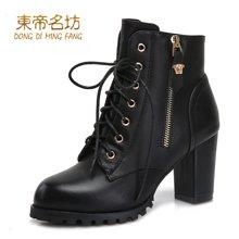 东帝名坊冬季新款圆头系带韩版马丁靴女粗跟高跟时尚潮牌侧拉链时装靴 D520TH02