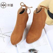 米基复古马丁靴女短靴英伦风春秋尖头粗跟高跟靴子侧拉链NX-99
