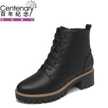 百年纪念 2017新款圆头侧拉链女靴 方跟时尚系带女短靴 防水台女鞋子单鞋bn155901