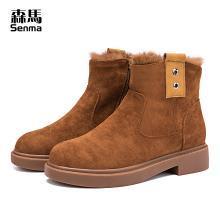 森马丁靴女短靴子英伦风学生韩版百搭2018新款秋冬季保暖加绒棉鞋