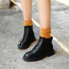 OKKO潮牌2018秋冬女鞋ins复古机车鞋反绒皮马丁靴女英伦风真皮短筒靴子LC-L1158