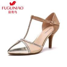 富贵鸟(FUGUINIAO)时尚女鞋尖头细跟T字搭扣中空单鞋时尚水钻高跟鞋 K68K602C