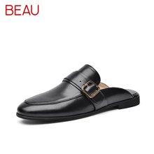 BEAU 新款穆勒鞋女夏方扣平底半拖鞋无后跟包头懒人鞋女36019