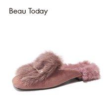 BT 新款平底女鞋秋冬单鞋毛毛穆勒拖鞋无后跟懒人包跟半拖鞋24006