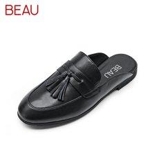 BEAU 新款穆勒鞋平底包头半拖鞋无后跟懒人鞋流苏单鞋凉拖A35037