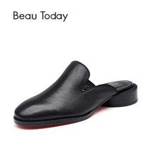 BeauToday 新款穆勒鞋粗跟包头凉鞋女平跟懒人半拖鞋女厚底35036